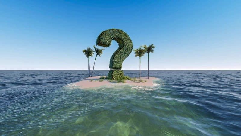 Wann essen beim intervallfasten? - eine Insel mit einem riesigen Fragezeichen