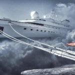 intermittierendes Fasten als Lösung für die Überflussgesellschaft - dicker Mann am Anker eines Schiffes